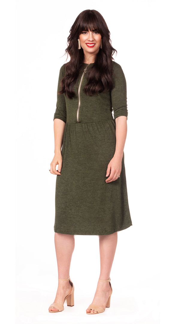 Havah O Dress - Nursing Dress with Zipper Front - Summer Green