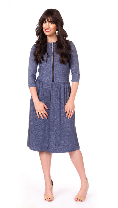 Final sale Havah O Dress in Warm Blue  - Nursing Dress with Zipper Front