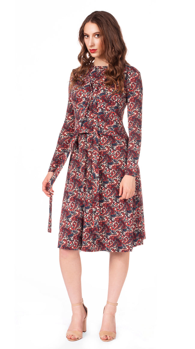 FINAL SALE Paisley Tie Dress Nursing Friendly Midi Dress