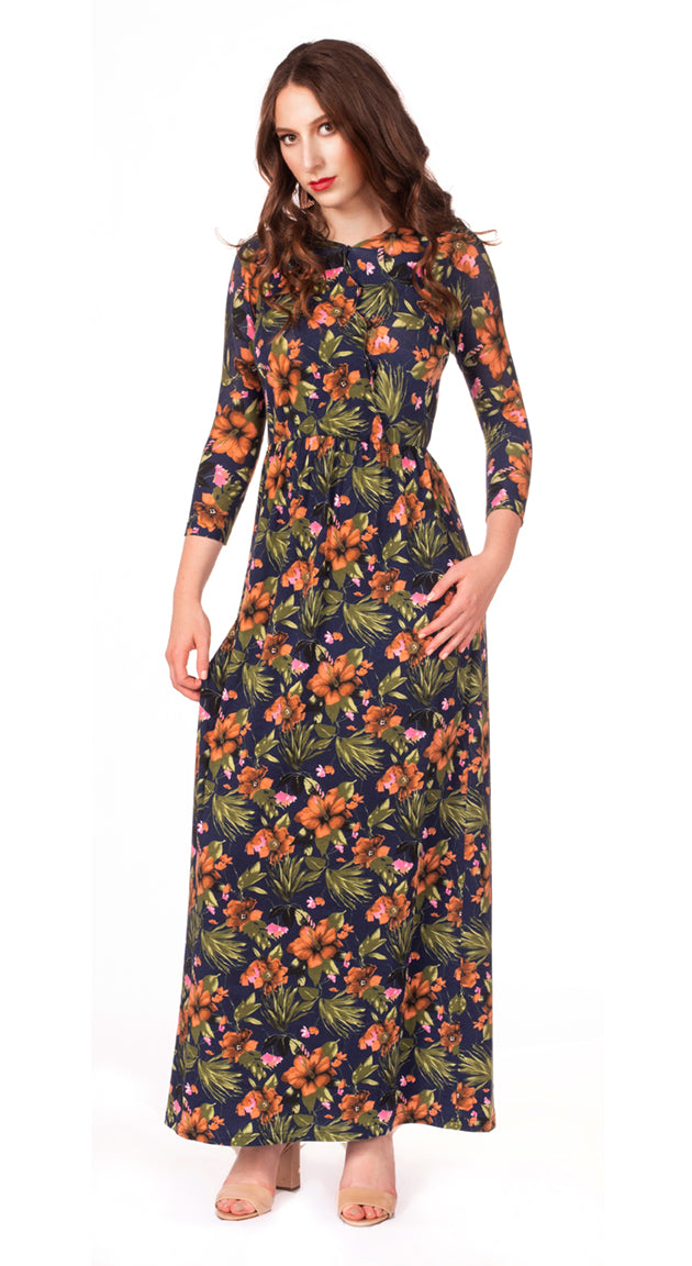 Scallop Floral Maxi Dress - Nursing Friendly Maxi with Snaps - Navy Floral