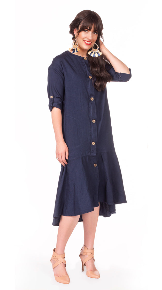 Thrill Dress in Navy - Nursing Friendly Dress with Hidden Zippers