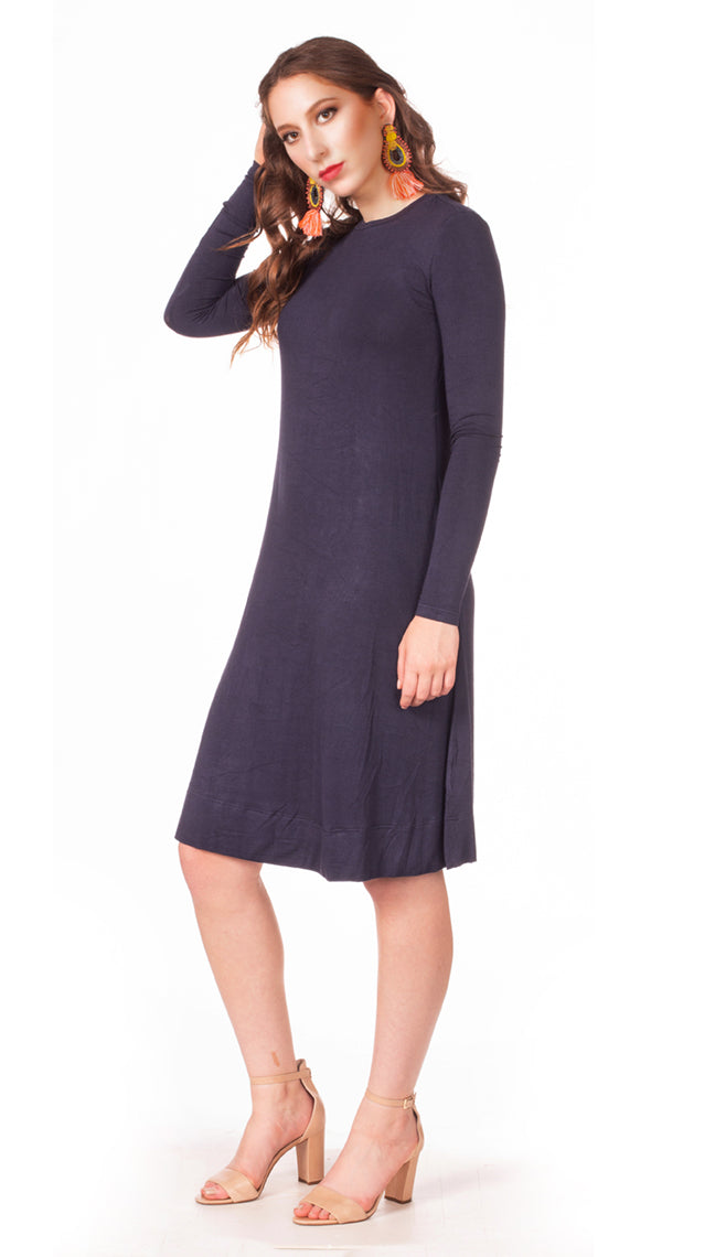 HavahBasics Sundrop Dress in Navy - Nursing Friendly Midi with Side Zippers