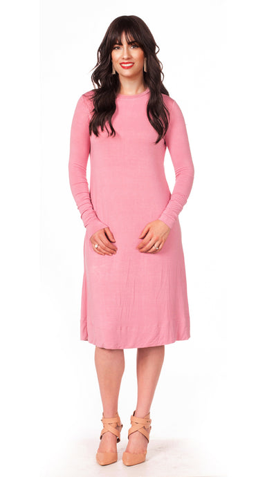 Final Sale HavahBasics Sundrop Dress in Summer Pink - Nursing Friendly Midi with Side Zippers