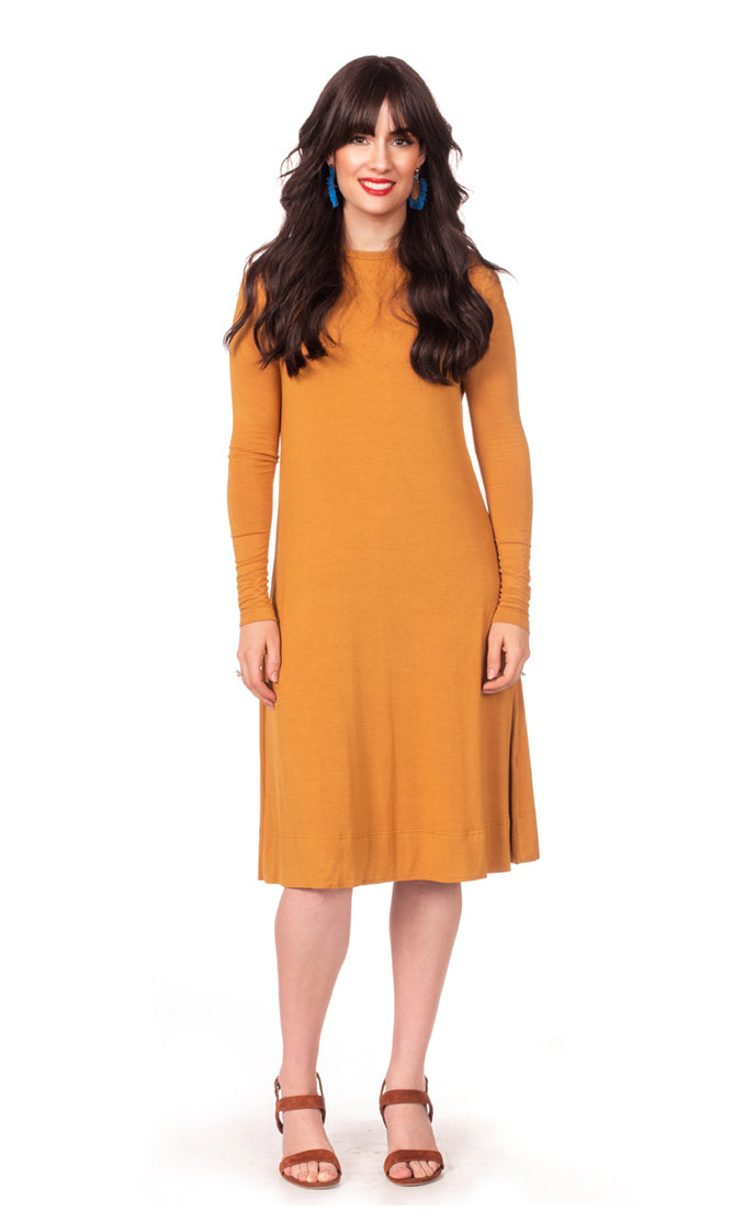 HavahBasics Sundrop Dress in Gold Mustard - Nursing Friendly Midi with Side Zippers