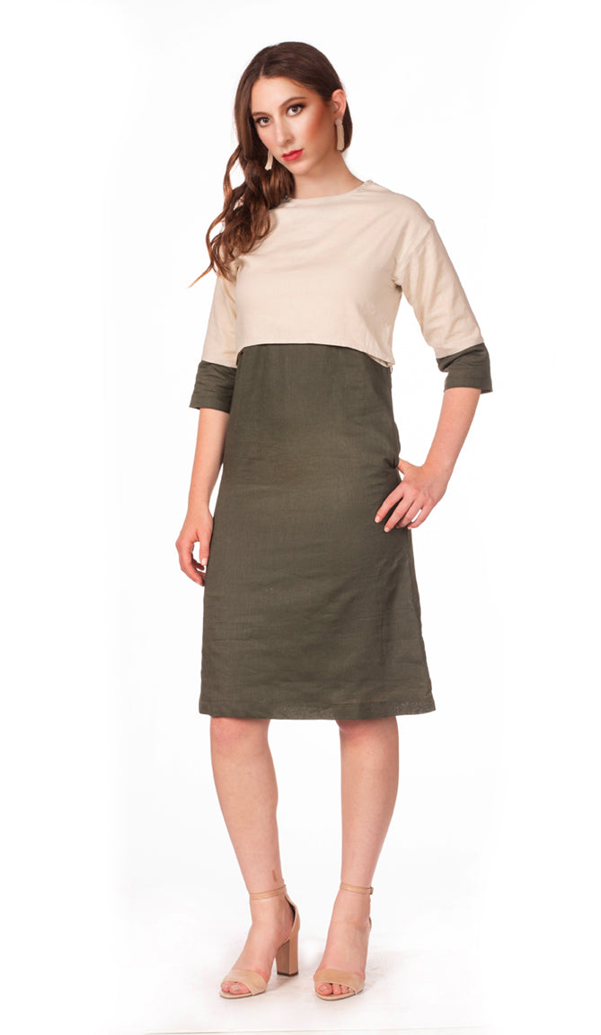 Colorblock Linen Dress - Nursing Dress with Hidden Zippers - Olive/Beige