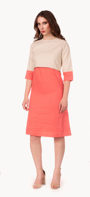 FINAL SALE Colorblock Linen Dress in Flamingo/Beige) - Nursing Dress with Hidden Zippers