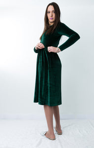HavahWinter Velvet - Nursing Friendly Dress in Emerald Green
