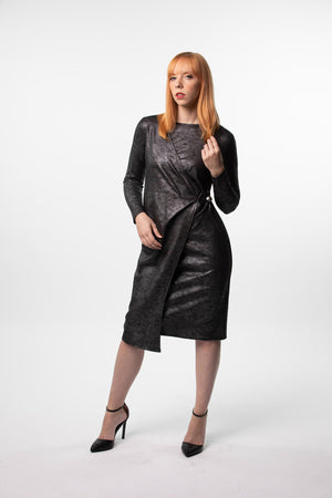 Wrap Dress in Leather and Leather Color Block