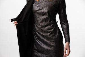 Final sale! Wrap Dress in Leather and Leather Color Block