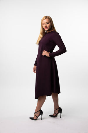 Asymmetrical Silky Dress in Plum, Black and Snakeskin nursing friendly and beyond