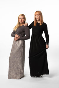 Shimmer Maxi in Black or Metallic, Nursing Friendly and Beyond
