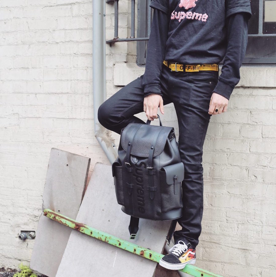 d6f132d8aeaf Louis Vuitton x Supreme Christopher backpack EPI black-Wethenew