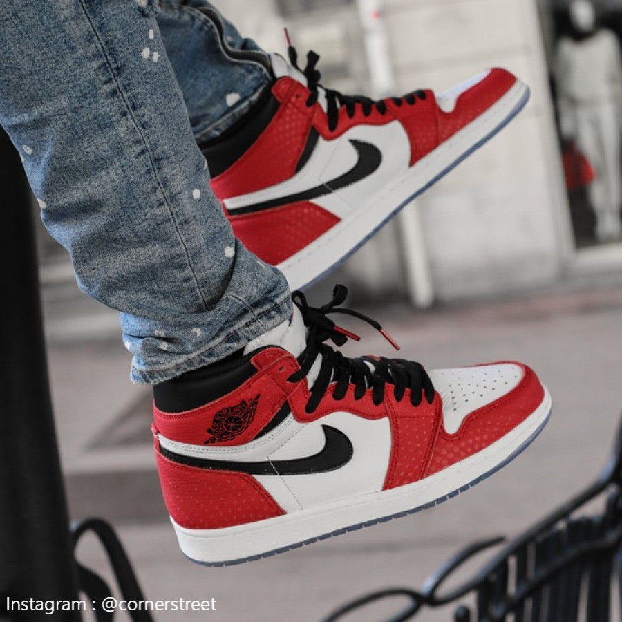 new concept 508ab ba827 Air Jordan 1 retro high Spider-man origin story-555088-602 ...