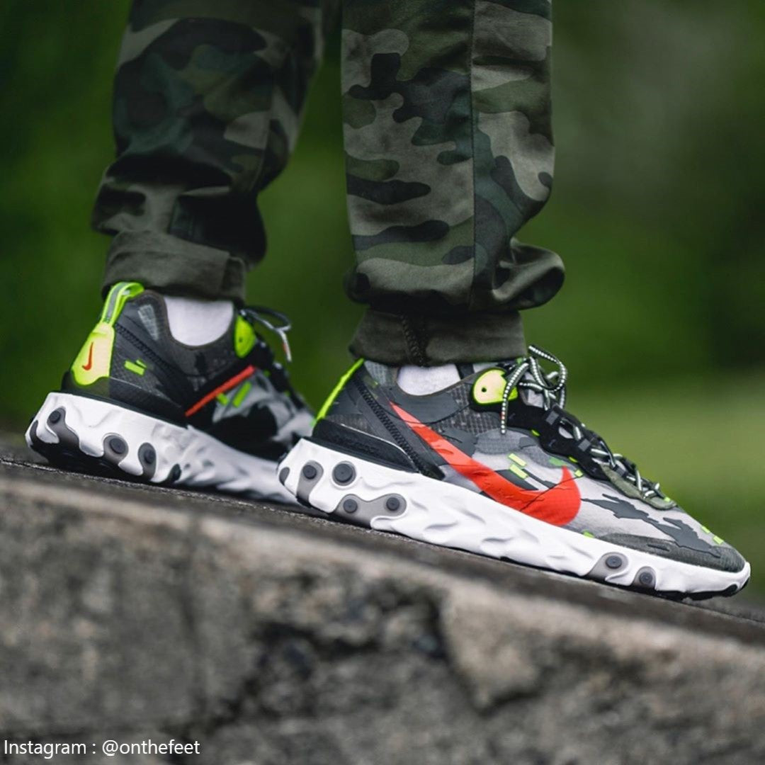 Nike React Element 87 Medium Olive Volt Crimson