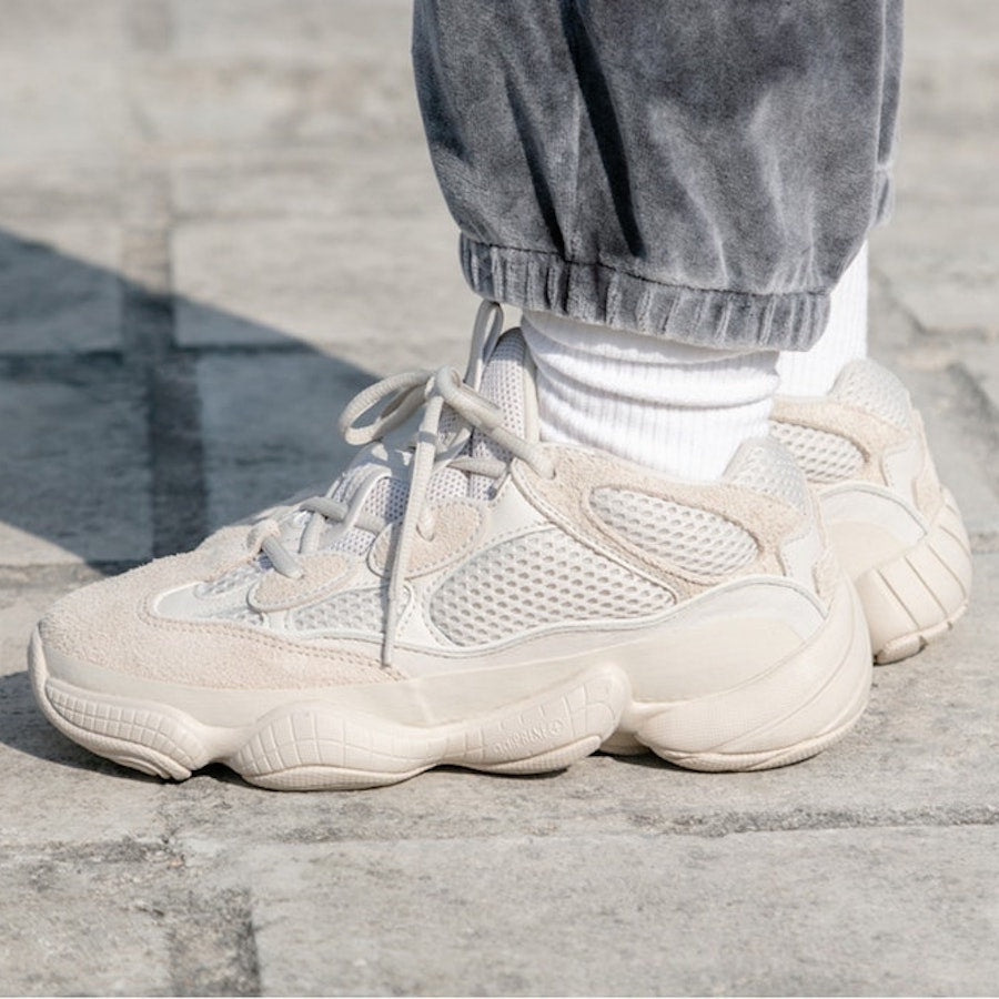super popular a90b7 c5374 blush yeezy 500 on feet