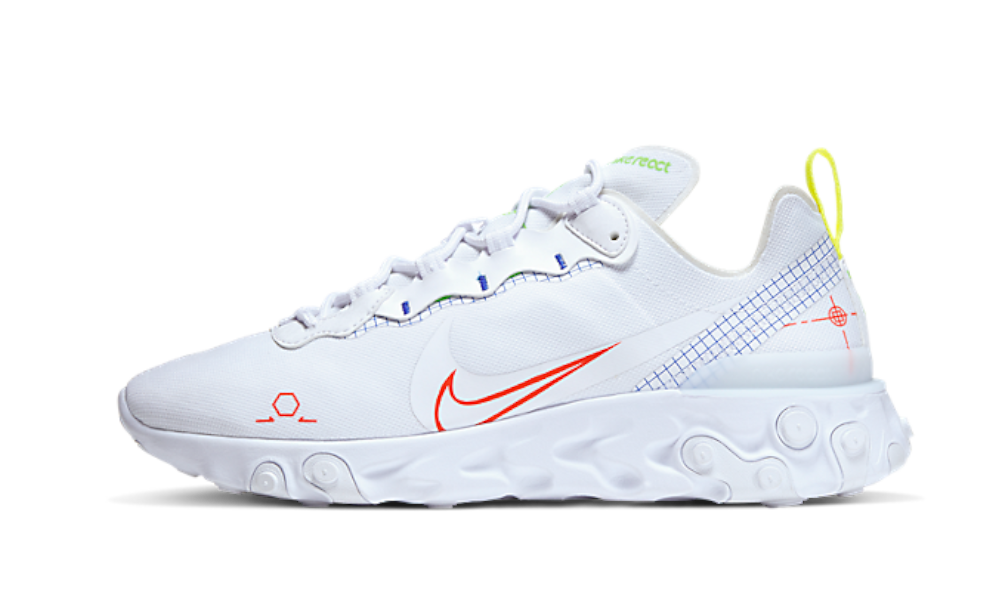 Nike React Element 55 White Neon Schematic - CU3009-101