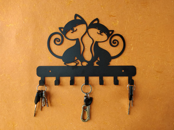 Twin Kittens Metal Key Holder
