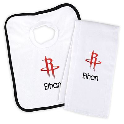 Houston Rockets Personalized Bib and Burp Cloth Set