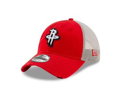 Men's Houston Rockets New Era Freyed Trucker 9Twenty Cap
