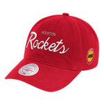Men's Houston Rockets Mitchell & Ness HWC Script Strapback Hat