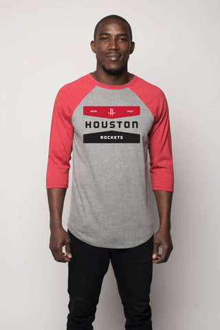 Men's Houston Rockets Sportiqe Schwarber Raglan Tee