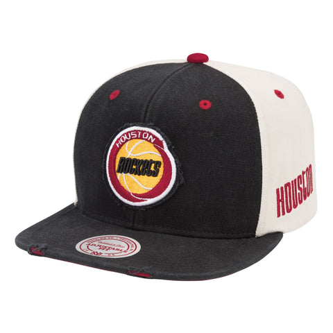 Men's Houston Rockets Mitchell & Ness HWC Washed Canvas Snapback Cap