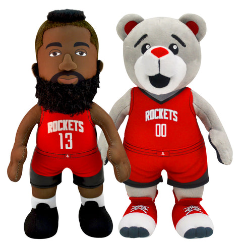 "Houston Rockets Uncanny Brands Mascot Clutch and James Harden 10"" Plush Bleacher Creature Bundle"
