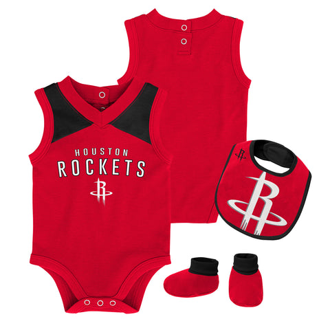 Infant Houston Rockets Overtime Creeper, Bib & Bootie Set