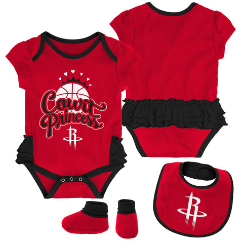 Newborn Houston Rockets Mini Trifecta Creeper, Bib & Bootie Set