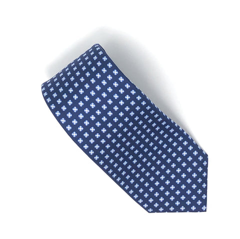 7 Fold Handmade Italian Blue Cross Pattern Silk Tie