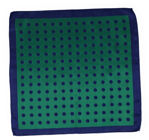 Double Sided Jacquard Blue Green Polka Dot Pocket Square - Wilmok
