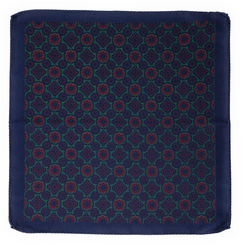 Double Sided Jacquard Italian Blue Medallion Pocket Square - Wilmok