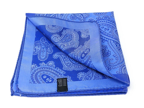 Double Sided Jacquard Italian Blue Paisley Pocket Square - Wilmok