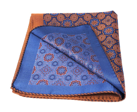 Double Sided Jacquard Italian Orange Medallion Pocket Square - Wilmok
