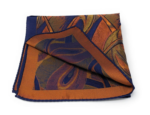Double Sided Jacquard Italian Orange Paisley Pocket Square - Wilmok