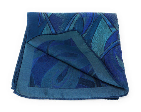 Double Sided Jacquard Italian Sea Blue Paisley Pocket Square - Wilmok