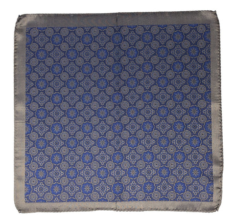 Double Sided Jacquard Italian Silver Medallion Pocket Square - Wilmok