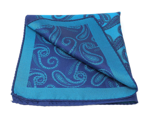 Double Sided Jacquard Navy Blue Paisley Pocket Square - Wilmok