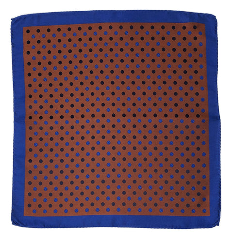 Double Sided Jacquard Orange Polka Dot Pocket Square - Wilmok