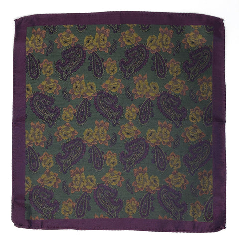 Double Sided Jacquard Purple Paisley Pocket Square - Wilmok