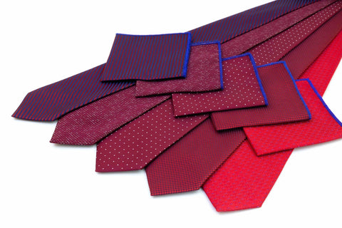 Double Sided Jacquard Red Blue Paisley Pocket Square - Wilmok