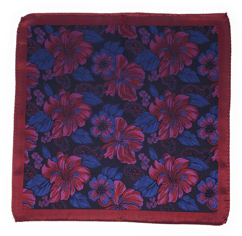 Double Sided Jacquard Red Floral Pocket Square - Wilmok
