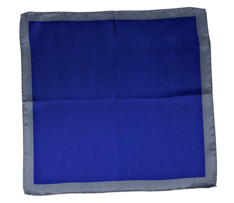 Double Sided Jacquard Solid Blue Silver Pocket Square - Wilmok
