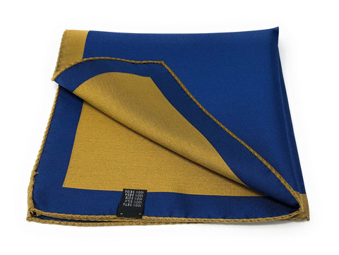 Double Sided Jacquard Solid Blue Yellow Pocket Square - Wilmok