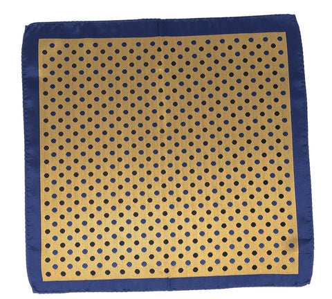 Double Sided Jacquard Yellow Blue Polka Dot Pocket Square - Wilmok