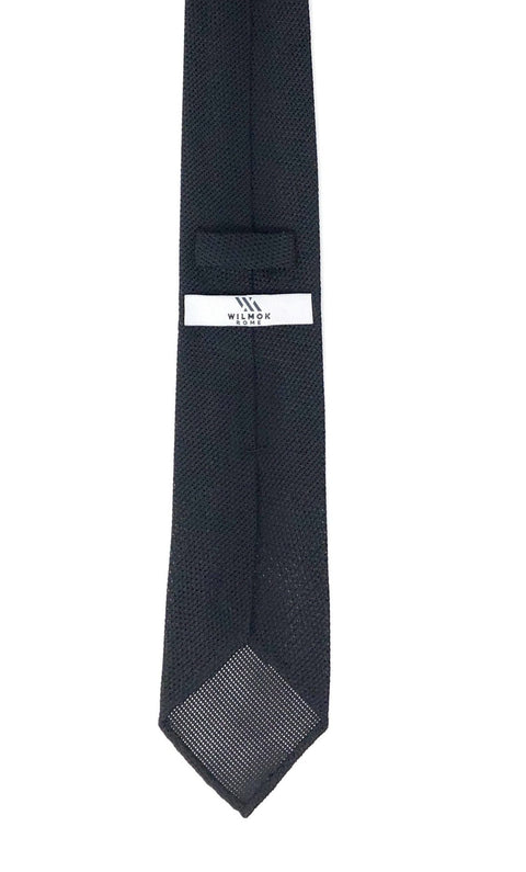 Grenadine Untipped Luxury Hand-Rolled Black Tie - Wilmok
