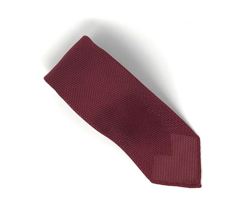 Grenadine Untipped Luxury Hand-Rolled Maroon Tie - Wilmok