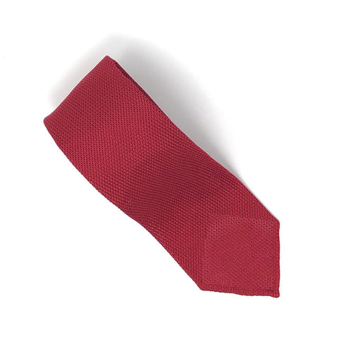 Grenadine Untipped Luxury Hand-Rolled Red Tie - Wilmok