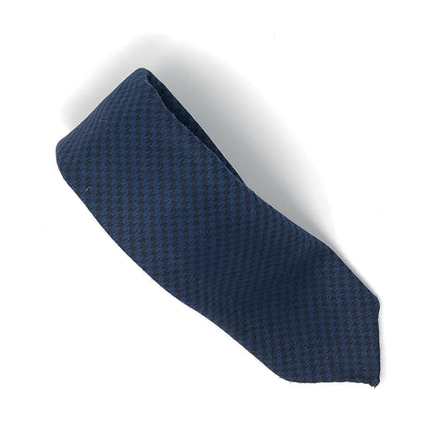 Italian Blue Dogtooth Check Wool Tie - Wilmok