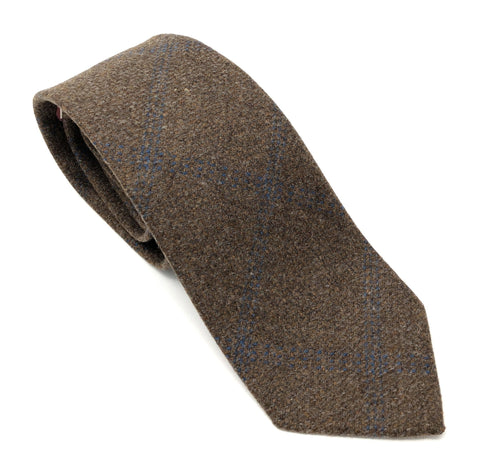 Italian Dark Brown Plaid Handmade Wool Tie - Wilmok